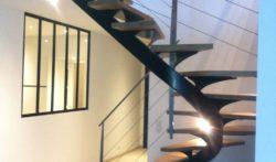 escalier marche bois rampe métal