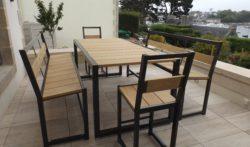Mobilier extérieur acier et bois